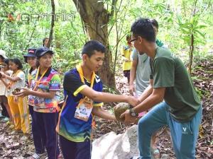 เด็กและเยาวชนตรัง 150 คน ร่วมกิจกรรมบวชป่าสร้างฝายอนุรักษ์เขาถ้ำแรด