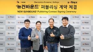 (จากซ้าย) Mr.Kim Sung Hun, VP & COO, Softnyx / Shin Woo Jae, CEO, Softnyx / คุณธานิน ภิรมย์หวาด CEO Electronics Extreme Ltd. / คุณคัมภีร์ ภิรมย์หวาด MD Electronics Extreme Ltd.