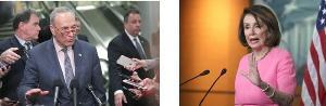 นายชัค ชูเมอร์ ผู้นำเสียงข้างน้อยในวุฒิสภา-นางแนนซี เพโลซี ประธานสภาผู้แทนฯ สหรัฐฯ