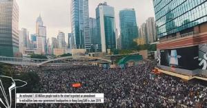 (คลิป) โดรนบินถ่ายภาพคลื่นผู้ประท้วงชาวฮ่องกงนับล้าน