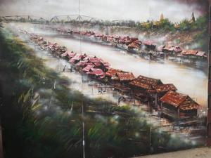 ภาพวาดบรรยากาศเรือนแพริมฝั่งน้ำน่าน อัตลักษณ์เมืองพิษณุโลกในอดีต