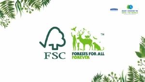 """[โลโก้ FSC™ การันตีว่าสินค้านั้นๆ ผลิตจาก """"ป่าปลูกที่ได้รับการดูแลอย่างยั่งยืน""""]"""