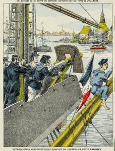 เรือรบฝรั่งเศสหน้าพระเจดีย์กลางน้ำ