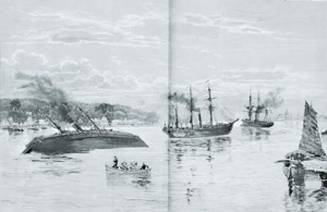สภาพเรือฝรั่งเศสเมื่อฝ่าป้อมพระจุลฯเข้ามา