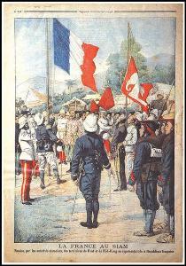 ชักธงช้างลงชักธงฝรั่งเศสขึ้นในพิธีมอบเมืองตราดให้ฝรั่งเศส