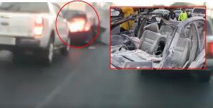 วินาทีระทึก! เก๋งระเบิดไฟลุก-หลังคาปลิว กลางแยกเมืองลพบุรี เคราะห์ดีคนขับปลอดภัย (ชมคลิป)
