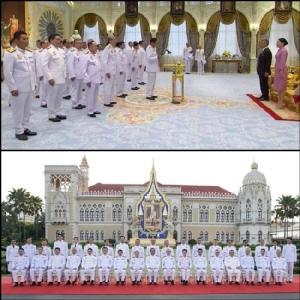 (บน) พล.อ.ประยุทธ์ จันทร์โอชา นายกรัฐมนตรี นำคณะรัฐมนตรีชุดใหม่ เข้าเฝ้าฯ ถวายสัตย์ปฏิญาณก่อนเข้ารับหน้าที่ (ล่าง) ครม.ชุดใหม่ถ่ายรูปร่วมกัน