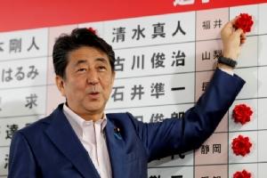 นายกรัฐมนตรีชินโซ อาเบะ แห่งญี่ปุ่น ติดดอกกุหลาบลงบนชื่อผู้สมัครที่คาดว่าจะชนะการเลือกตั้งวุฒิสภา ณ สำนักงานใหญ่ของพรรคเสรีประชาธิปไตย (LDP) ในกรุงโตเกียว เมื่อวันที่ 21 ก.ค.