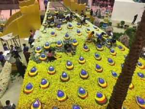 """มทร.ธัญบุรี รังสรรค์กล้วยไม้ล้านดอก เป็น """"นกยูงรำแพน"""" เทิดพระเกียรติ พระบรมราชชนนีพันปีหลวง"""