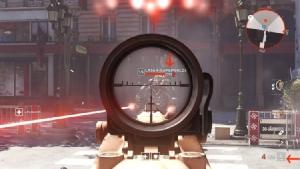 สังเกตลูกศรสีแดงที่ชี้ไอคอนประเภทเกราะของศัตรู และกระสุนของปืนที่เราใช้อยู่ให้ดีๆ