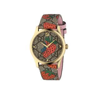 """""""กุชชี่"""" (Gucci) รุ่น G-Timeless Contemporary Strawberry ราคา 48,900 บาท ที่นำเอาแฟชั่นไอคอนรูปผลไม้แห่งปี Gucci Strawberry มารังสรรค์บนเครื่องบอกเวลา ตัวเรือน 38 มม. พร้อมสายหนังแคนวาสลาย GG Supreme ลายสตรอเบอรีสีแดงสดและชมพูสดใส สลักรูปสตรอเบอรีที่ฝาหลัง"""