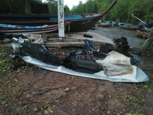 คนร้ายย่องเผาเรือยางกู้ภัย อบต.เกาะสุกร จ.ตรัง วอดทั้งลำ