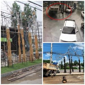 หมดทางซ่อม! ฝนตก-น้ำขัง 6 ล้อหมุนเคว้งชนเสาแกะสลักผลงานศิลปินดังไทย-ญี่ปุ่นหักกระเด็น
