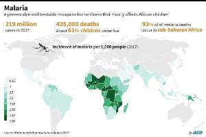แผนภาพแสดงการระบาดของมาลาเรียทั่วโลกเมื่อปี ค.ศ.2018 โดยแสดงความหนาแน่นของโรคด้วยจำนวนผู้ป่วยต่อประชากร 1000 คน  (AFP Photo/Kun TIAN)