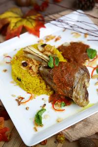 Braised Lamb Shank with Saffron Rice & Ouzi Sauce