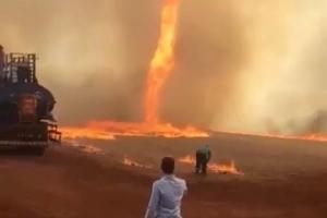 ปรากฏการณ์หาดูยาก!!'ทอร์นาโดไฟ'เปลวเพลิงหมุนเกลียวขึ้นสู่ท้องฟ้า(ชมคลิป)
