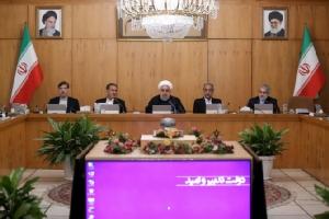 ฮัสซัน รูฮานี ประธานาธิบดีอิหร่าน ระหว่างร่วมประชุมคณะรัฐมนตรีในวันพุธ(18ก.ย.)