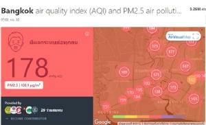 PM 2.5 มาแล้ว ดัชนีคุณภาพอากาศ กทม.แย่อันดับ 2 โลก อยู่ในเกณฑ์กระทบสุขภาพ