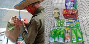 """หนุ่มน้ำใจงาม ใช้สิทธิ """"ชิมช้อปใช้"""" ซื้อของใช้-อาหาร ให้ลุงไม่มีสมาร์ทโฟนลงทะเบียนไม่ได้"""