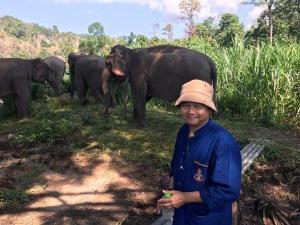 น.สพ.ทวีโภค อังควานิช หัวหน้าฝ่ายอนุรักษ์ช้าง สถาบันคชบาลแห่งชาติในพระอุปถัมภ์ฯ ผู้ริเริ่มโครงการเยี่ยมชมพฤติกรรมช้างโขลงที่อยู่ตามธรรมชาติ