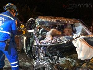 เกิดอุบัติเหตุรถชน 4 คันรวดบนถนนสายเลี่ยงเมืองหาดใหญ่ ตาย 2 เจ็บ 2