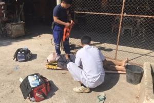 ตูมสนั่นร้าน! หนุ่มช่างชัยภูมิปะยางล้อรถไถเก่าระเบิดใส่หน้าเละเลือดอาบ นอนร้องโอดโอยอาการสาหัส