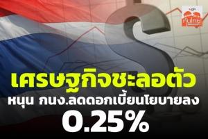 เศรษฐกิจชะลอตัว หนุน กนง.ลดดอกเบี้ยนโยบายลง 0.25%