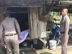 ตร.เข้าตรวจเหตุมือปืนลอบยิงหนุ่มเฝ้าสวนมะพร้าวเสียชีวิตคาที่