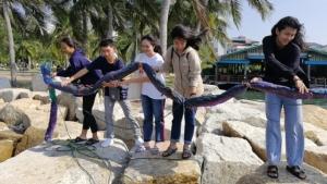 กลุ่มรักษ์ชายหาดฯ ปล่อยทุ่นดักกระทงริมหาดศรีราชา ป้องกันอันตรายแก่สัตว์น้ำ