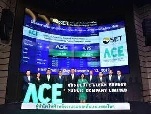 ACE ปิดเทรดวันแรกที่ 4.64 บาท สูงกว่าราคาขาย IPO 5.45%