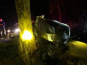 สุดสลด! ผอ.โรงเรียนบึ่งกระบะกลับบ้านรถแหกโค้งชนหลักราย-ต้นไม้เสียชีวิตคาที่