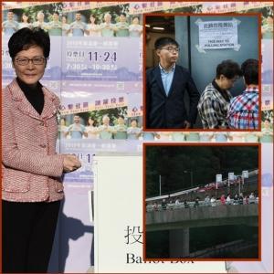 """ชมภาพคนฮ่องกงต่อแถวเลือกตั้ง: """"โจชัว หว่อง"""" เข้าคูหา-รักษาการประธานสหภาพนักเรียนยอมมอบตัว"""