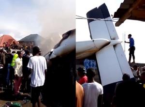 In Pics: เครื่องบินเล็กตกกลางชุมชนคองโก ดับไม่ต่ำกว่า 24