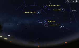ภาพที่ 1 คือตัวอย่างวัตถุท้องฟ้าทางทิศเหนือ ในช่วงเดือนธันวาคมที่สามารถใช้เป็นเป็นวัตถุเริ่มต้นในการถ่ายภาพ Deep Sky Objects ได้แก่ กาแล็กซีแอนโดรเมดา (M31) กาแล็กซีรูปกังหัน (M33) เนบิวลาสะท้อนแสงในกระจุกดาวลูกไก่ (M45) กระจุกดาวคู่ และเนบิวลาเปล่งแสง Heart and Sole เป็นต้น