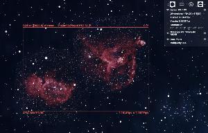 ตัวอย่างการหามุมรับภาพจากโปรแกรม Stellarium