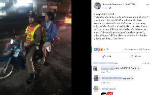 ชื่นชม! ตำรวจใจดีอาสาไปส่งพ่อแม่ลูก ร้านปะยาง หลังพบรถยางรั่วก่อนถึงบ้าน