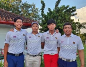 ทีมชาย (จากซ้าย) เด่นวิทย์ เดวิด บริบูรณ์ทรัพย์, ธนภัทร พิชัยกุล, วันชัย หลวงนิติกุล และ นพรัฐ พานิชผล ผ่านเข้าชิงเหรียญทอง