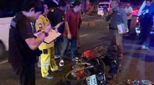 หนุ่มซิ่งจักรยานยนต์ชนท้ายรถบรรทุกดินเสียชีวิตคาที่