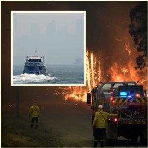 "In Clip: ไฟป่าออสเตรเลียทำให้   ""ซิดนีย์"" ยังจมหมอกควันพิษต่อ-เรือเฟอร์รีหยุดวิ่ง"