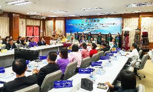 บรรยากาศพิธีลงนามบันทึกข้อตกลงความร่วมมือการพัฒนาชุมชนเพื่อสร้างเศรษฐกิจยั่งยืนบนเส้นทาง LIMEC (Luangprabang-Indochina-MawlamyineEconomicCorridor)