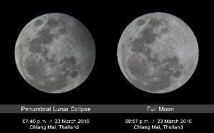 ภาพเปรียบเทียบดวงจันทร์เต็มดวงขณะเกิดปรากฏกาณณ์จันทรุปราคาเงามัว