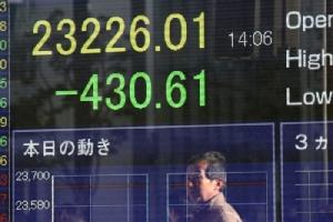 <i>จอภาพแสดงดัชนีราคาหุ้นของตลาดโตเกียว ขณะอยู่ระหว่างชั่วโมงการซื้อขายเมื่อวันจันทร์ (6 ม.ค.)  โดยในตอนปิดตลาด ดัชนีติดลบเกือบ 2% </i>
