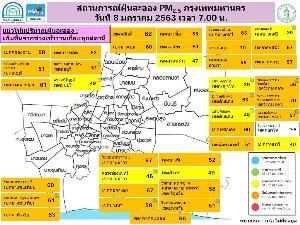 PM 2.5 เต็มพื้นที่! ฝุ่นละออง กทม.-ปริมณฑล เกินมาตรฐาน 38 สถานี แนะลดกิจกรรมกลางแจ้ง-สวมหน้ากากอนามัย
