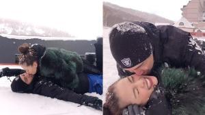 """ลูกคนที่ 3 ต้องมา """"ลีเดีย - แมทธิว"""" โชว์กอดจูบกลิ้งเกลือกกลางหิมะ"""