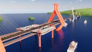 ภาพจำลอง(ไม่ใช่ภาพโครงการจริง) สะพานข้ามทะเลเชื่อมเกาะสมุย จ.สุราษฏร์ธานี บริเวณพังกา กับ อ.ขนอม จ.นครศรีธรรมราช บริเวณอ่าวท้องเนียน ซึ่งนายวิรัช พงษ์ฉบับนภา เจ้าของโรงแรมสมุยพาวิลเลี่ยนบูติกรีสอร์ท ในฐานะตัวแทนผู้ประกอบการธุรกิจท่องเที่ยวเกาะสมุย และทีมงาน เคยนำเสนอต่อกระทรวงคมนาคม