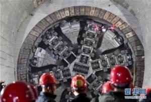 อุโมงค์รถไฟใต้ดิน ซึ่งมีความยาว 5.4 กิโลเมตร เชื่อมระหว่างสถานีต้าหยางและสถานีชิงเต่าเหนือ (ภาพซินหวา สื่อทางการจีน)