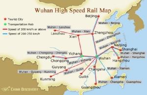 เครือข่ายรถไฟฟ้าความเร็วสูงจากหวู่ฮั่นไปเมืองสำคัญต่างๆ --ภาพ China Discovery