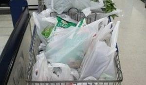 ในรถเข็นที่มีถุงพลาสติกหูหิ้ว น่าจะหมดไป เว้นแต่ผู้บริโภคเตรียมไปเอง