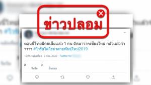 ข่าวปลอม! คนไทยติดเชื้อจากเชียงใหม่ตาย 1 สธ.ยันไม่จริง