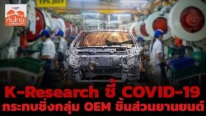 K-Research ชี้ COVID-19 กระทบชิ่งกลุ่ม OEM ชิ้นส่วนยานยนต์